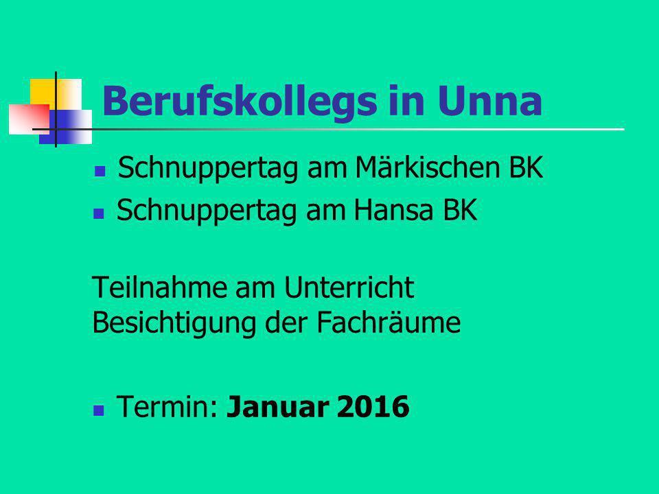 Berufskollegs in Unna Schnuppertag am Märkischen BK
