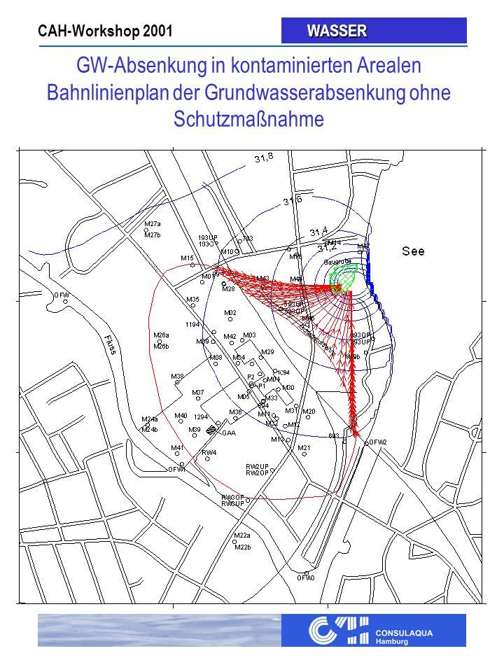 GW-Absenkung in kontaminierten Arealen Bahnlinienplan der Grundwasserabsenkung ohne Schutzmaßnahme