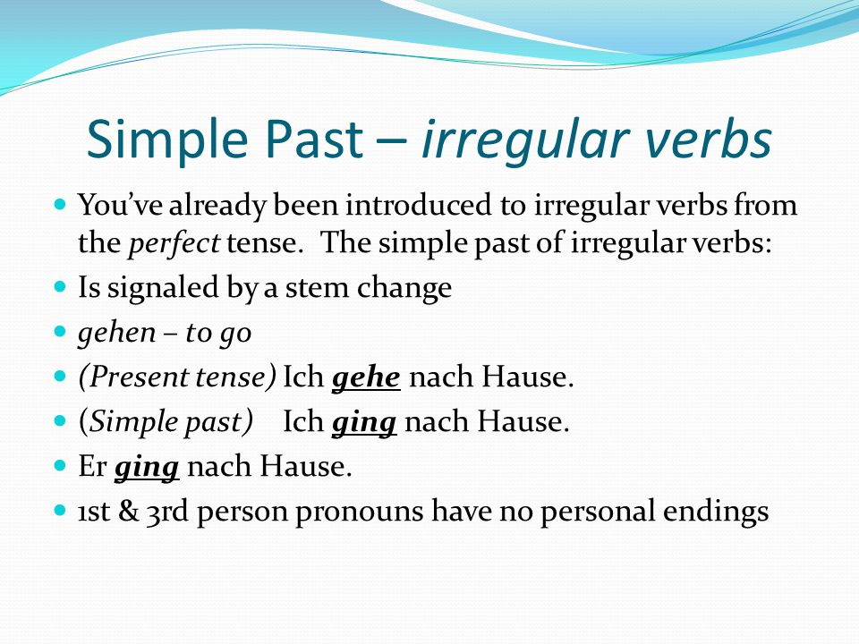 Simple Past – irregular verbs