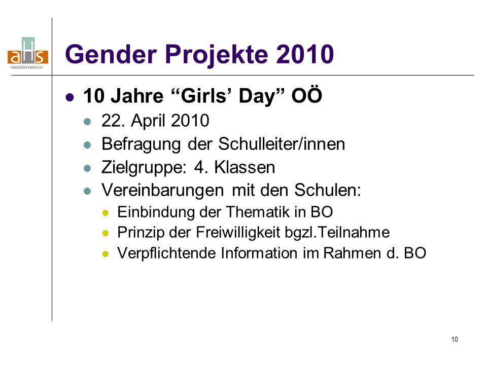 Gender Projekte 2010 10 Jahre Girls' Day OÖ 22. April 2010