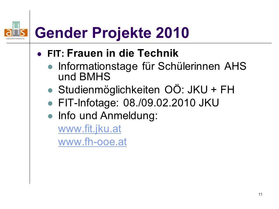 Gender Projekte 2010 Informationstage für Schülerinnen AHS und BMHS