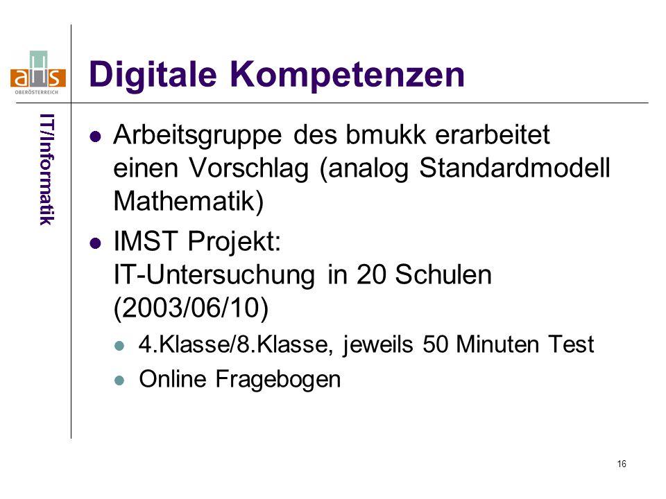 Digitale Kompetenzen IT/Informatik. Arbeitsgruppe des bmukk erarbeitet einen Vorschlag (analog Standardmodell Mathematik)