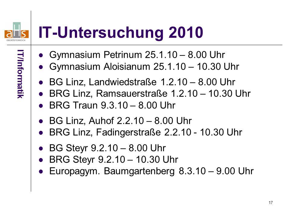 IT-Untersuchung 2010 Gymnasium Petrinum 25.1.10 – 8.00 Uhr