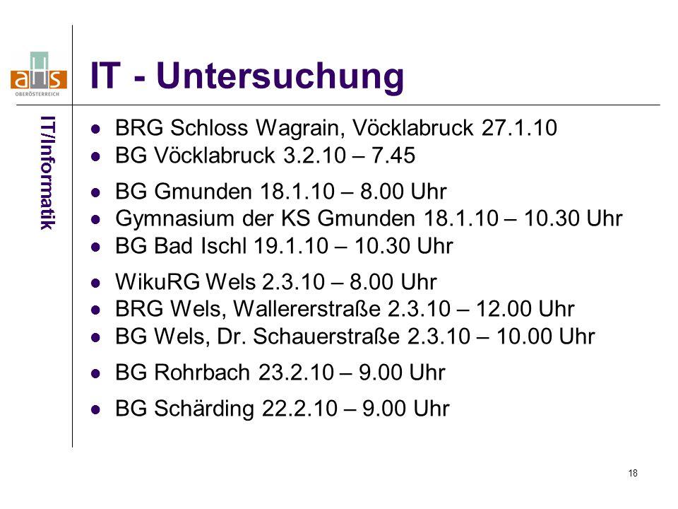 IT - Untersuchung BRG Schloss Wagrain, Vöcklabruck 27.1.10
