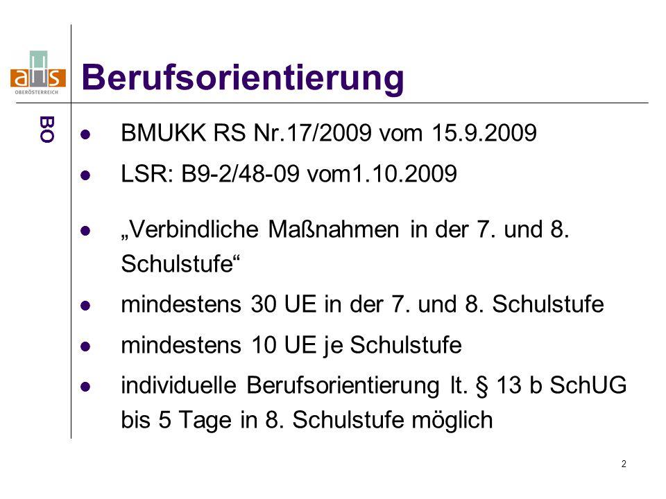 Berufsorientierung BMUKK RS Nr.17/2009 vom 15.9.2009