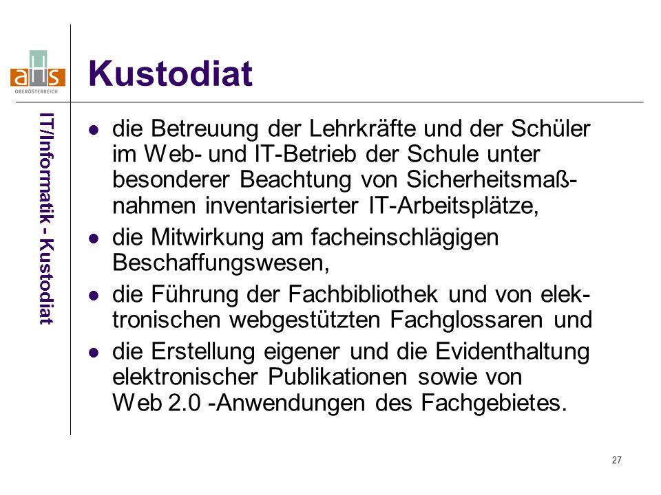 Kustodiat IT/Informatik - Kustodiat.