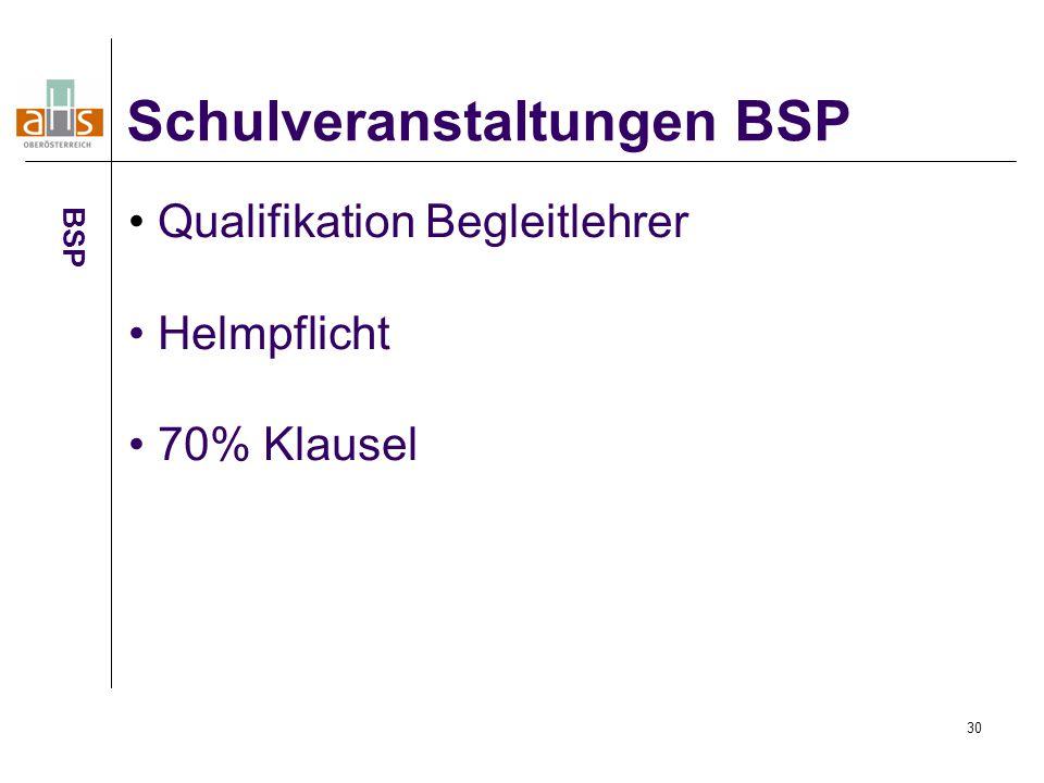 Schulveranstaltungen BSP