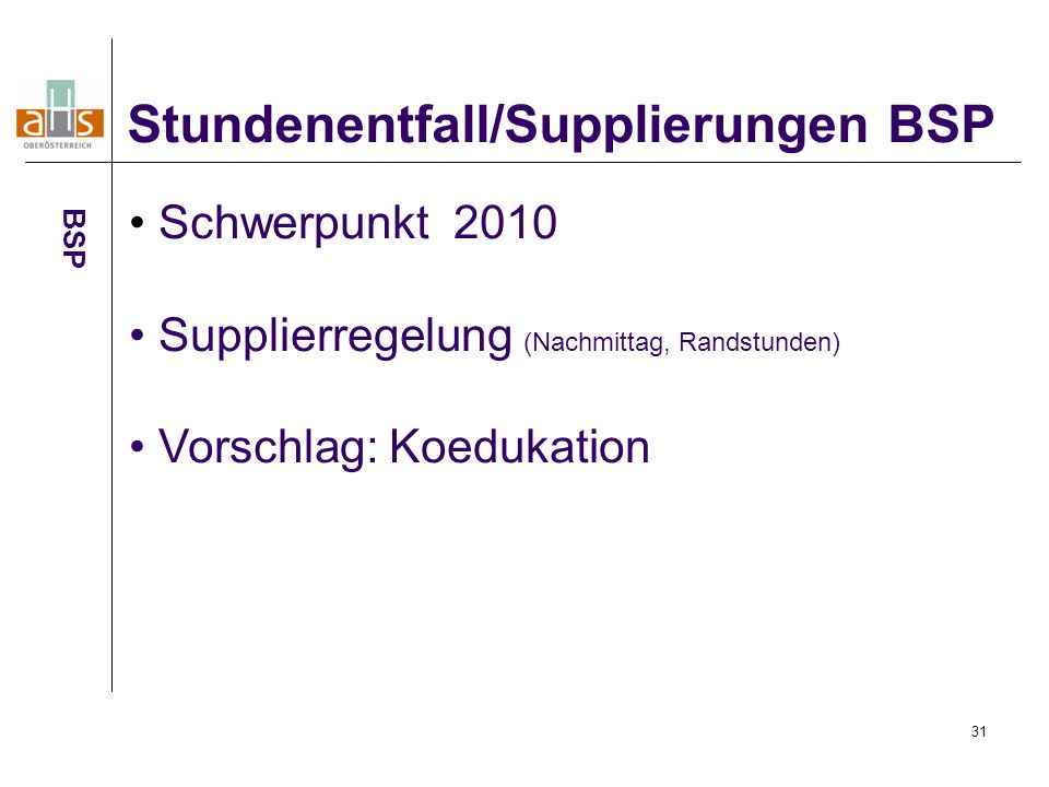 Stundenentfall/Supplierungen BSP