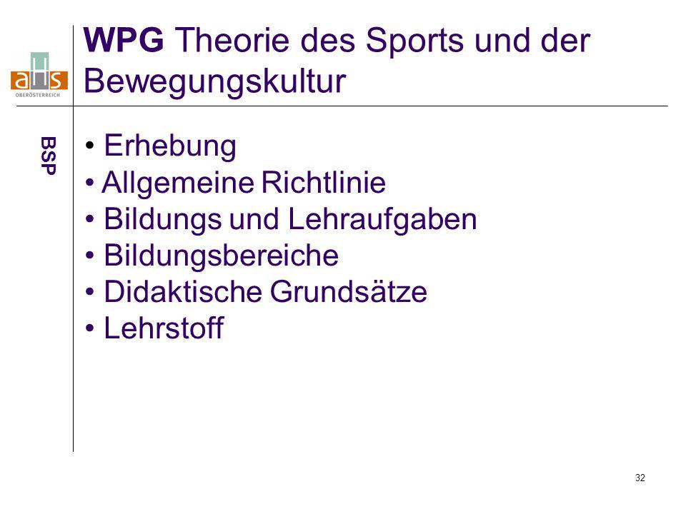 WPG Theorie des Sports und der Bewegungskultur
