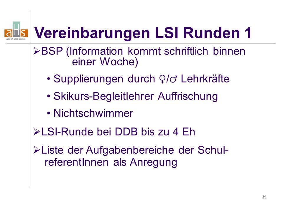 Vereinbarungen LSI Runden 1