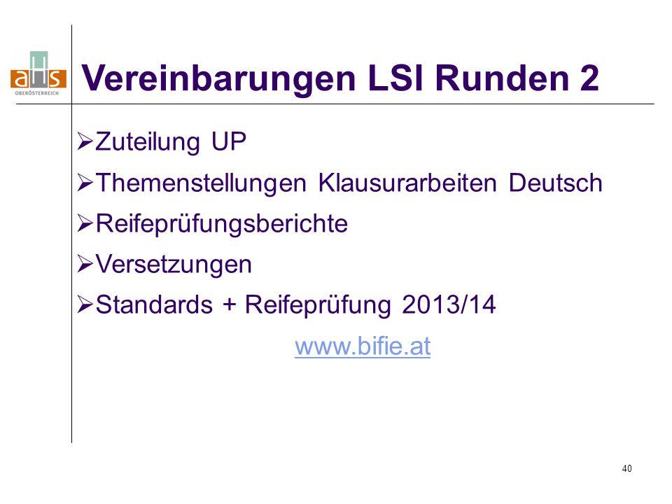 Vereinbarungen LSI Runden 2