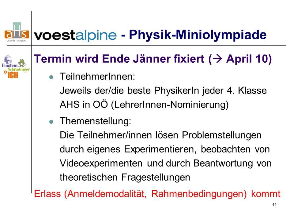 - Physik-Miniolympiade