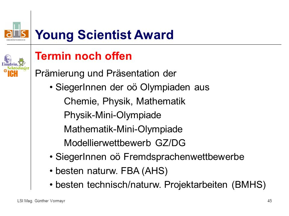 Young Scientist Award Termin noch offen