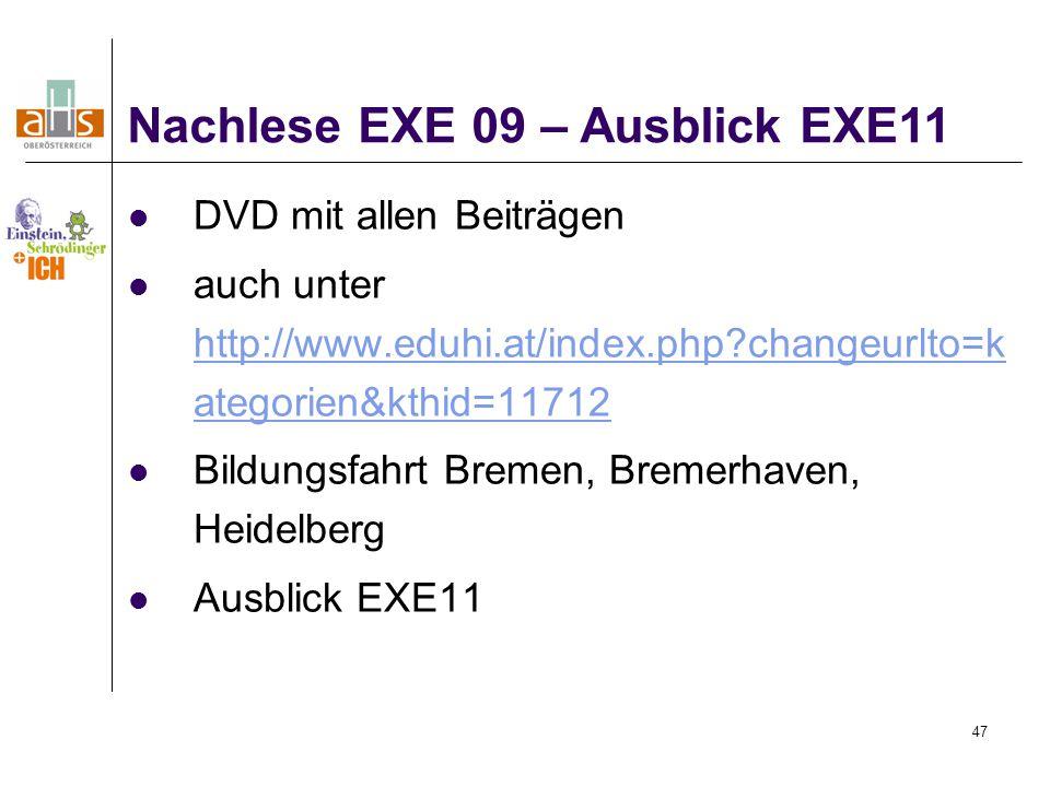 Nachlese EXE 09 – Ausblick EXE11