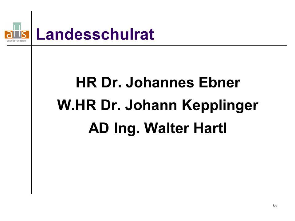 HR Dr. Johannes Ebner W.HR Dr. Johann Kepplinger AD Ing. Walter Hartl