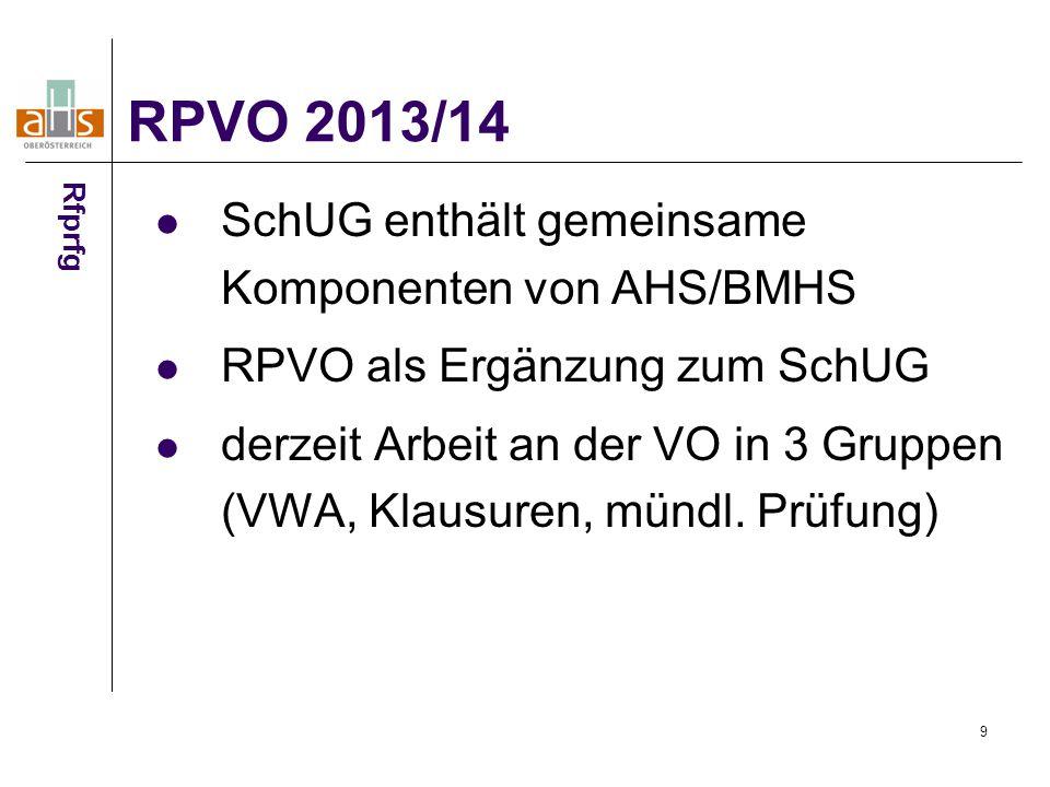 RPVO 2013/14 SchUG enthält gemeinsame Komponenten von AHS/BMHS
