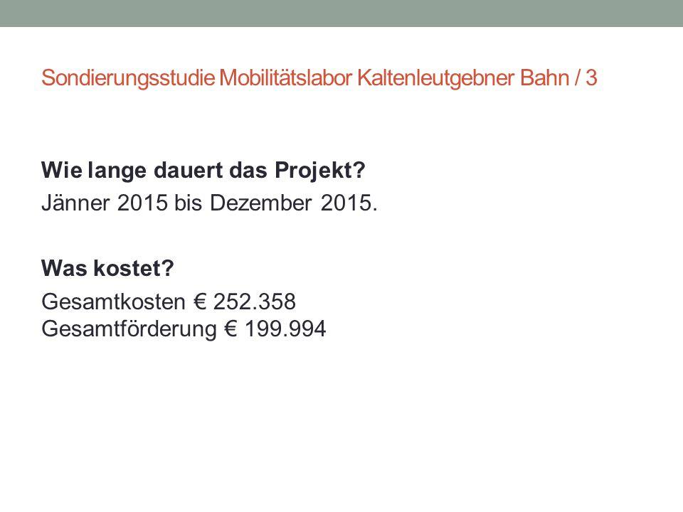 Sondierungsstudie Mobilitätslabor Kaltenleutgebner Bahn / 3