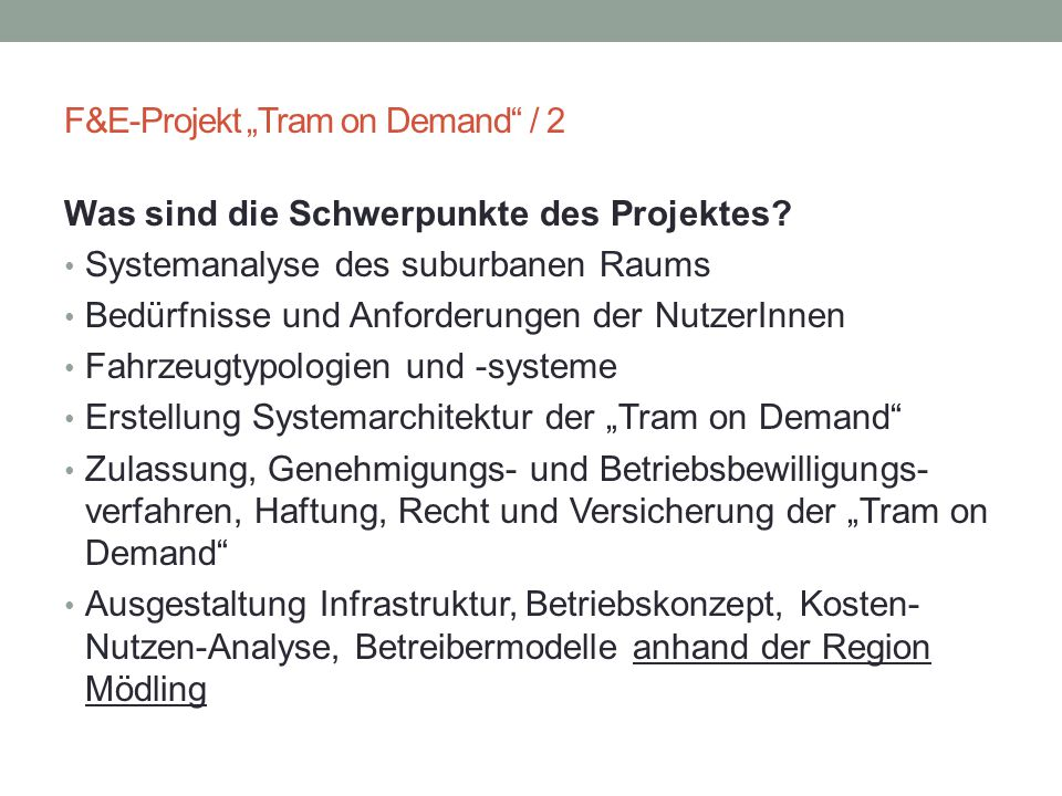 "F&E-Projekt ""Tram on Demand / 2"