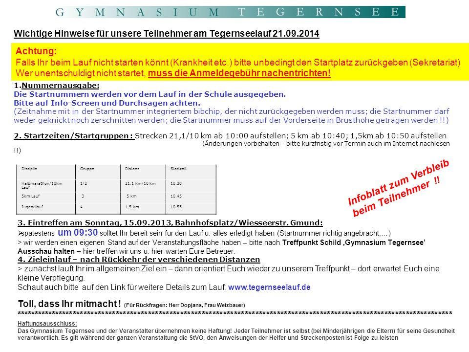 Infoblatt zum Verbleib beim Teilnehmer !!