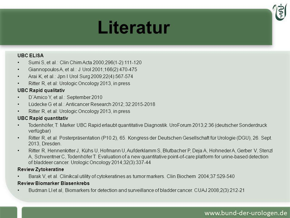 Literatur UBC ELISA. Sumi S, et al.: Clin Chim Acta 2000;296(1-2):111-120. Giannopoulos A, et al.: J Urol 2001;166(2):470-475.