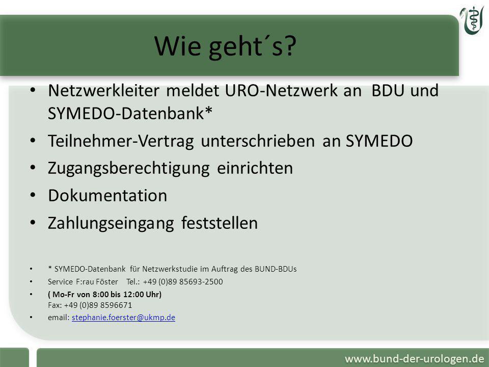 Wie geht´s Netzwerkleiter meldet URO-Netzwerk an BDU und SYMEDO-Datenbank* Teilnehmer-Vertrag unterschrieben an SYMEDO.