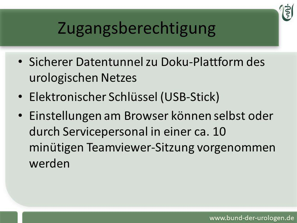 Zugangsberechtigung Sicherer Datentunnel zu Doku-Plattform des urologischen Netzes. Elektronischer Schlüssel (USB-Stick)