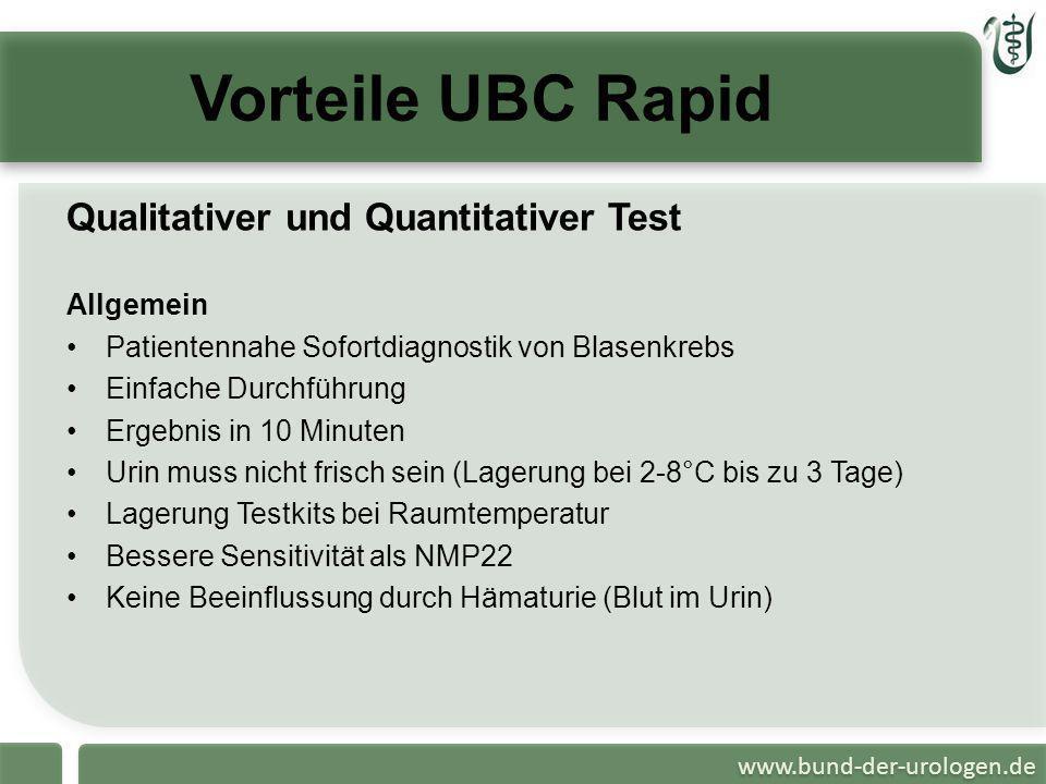 Vorteile UBC Rapid Qualitativer und Quantitativer Test Allgemein