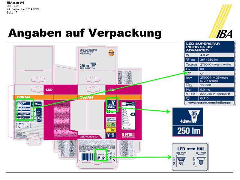 Angaben auf Verpackung