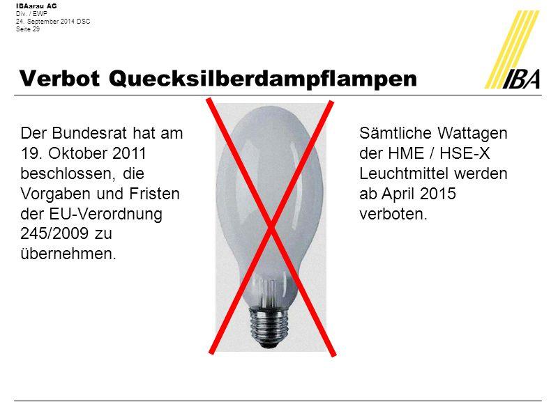 Verbot Quecksilberdampflampen