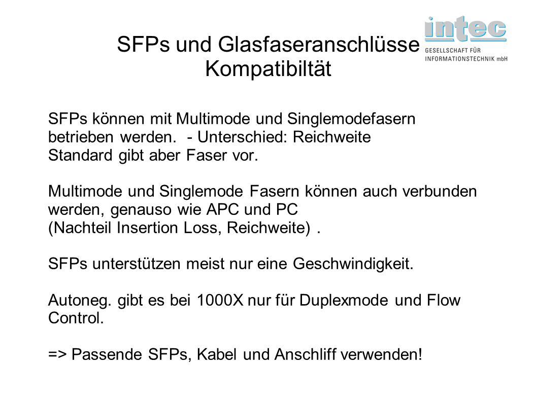 SFPs und Glasfaseranschlüsse Kompatibiltät