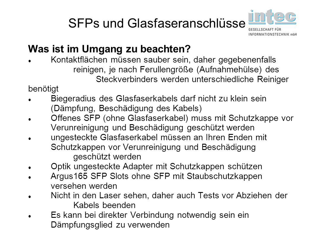 SFPs und Glasfaseranschlüsse