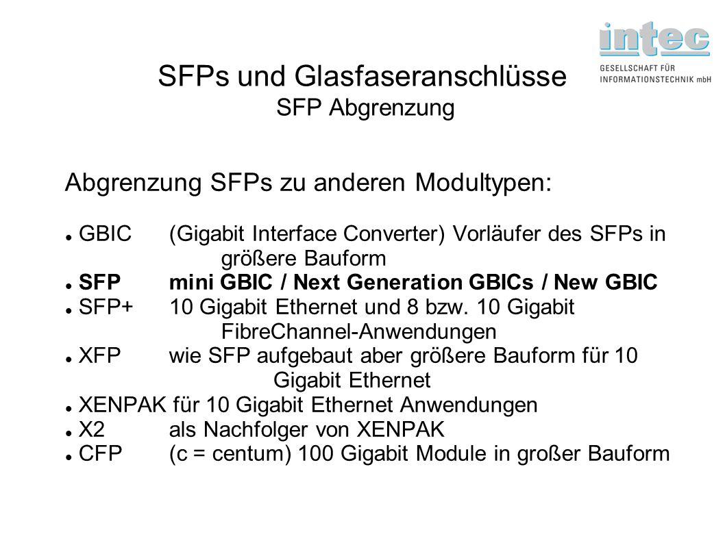 SFPs und Glasfaseranschlüsse SFP Abgrenzung