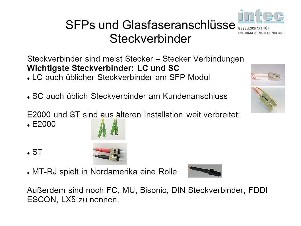 SFPs und Glasfaseranschlüsse Steckverbinder
