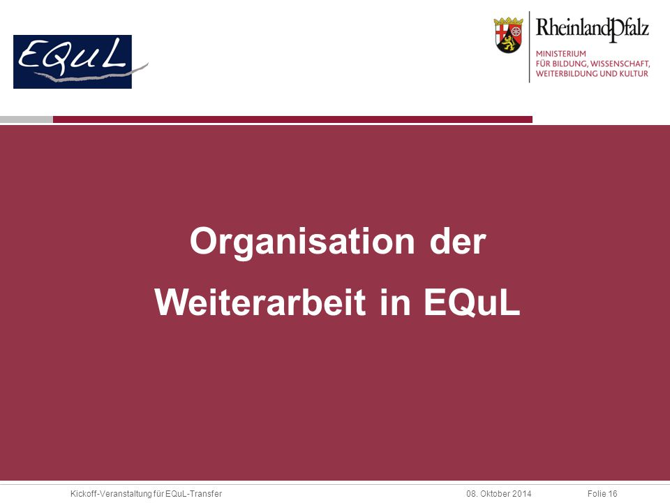 Organisation der Weiterarbeit in EQuL