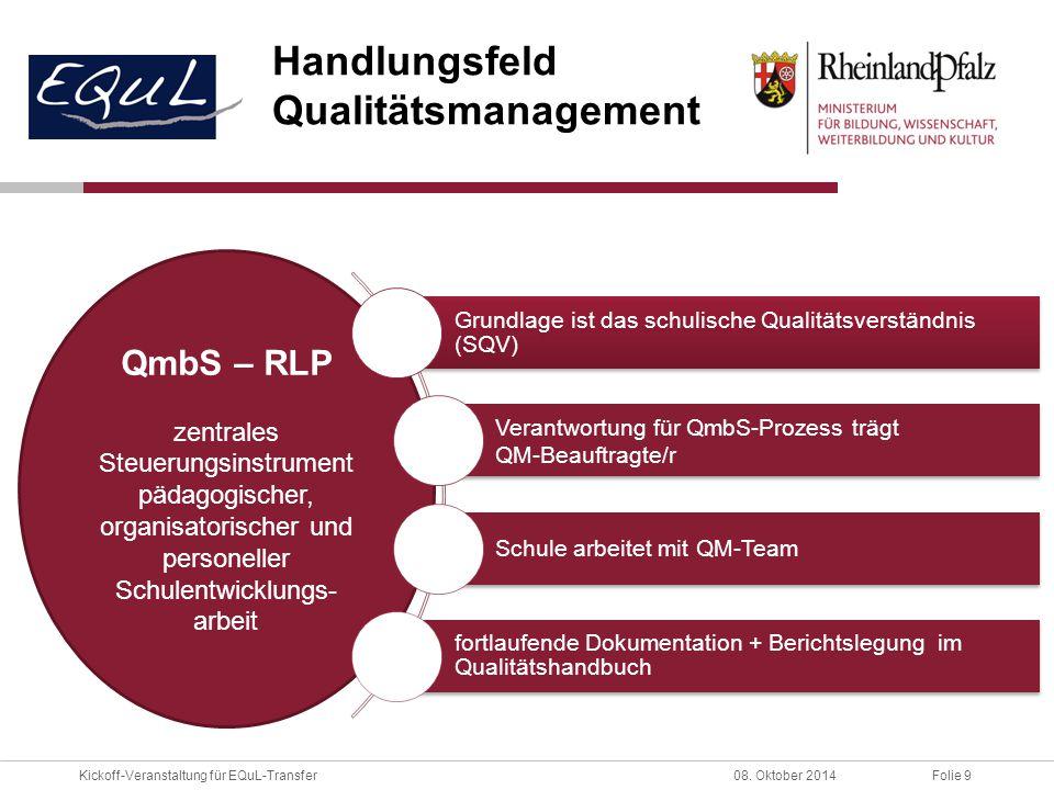 Handlungsfeld Qualitätsmanagement QmbS – RLP