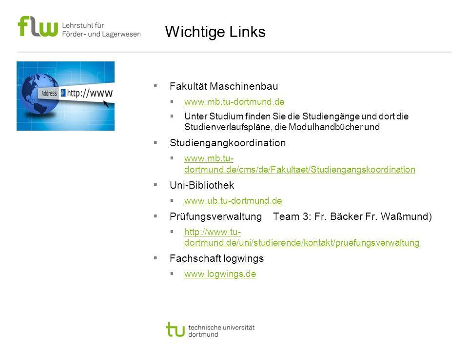 Wichtige Links Fakultät Maschinenbau Studiengangkoordination