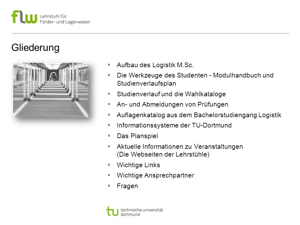 Gliederung Aufbau des Logistik M.Sc.