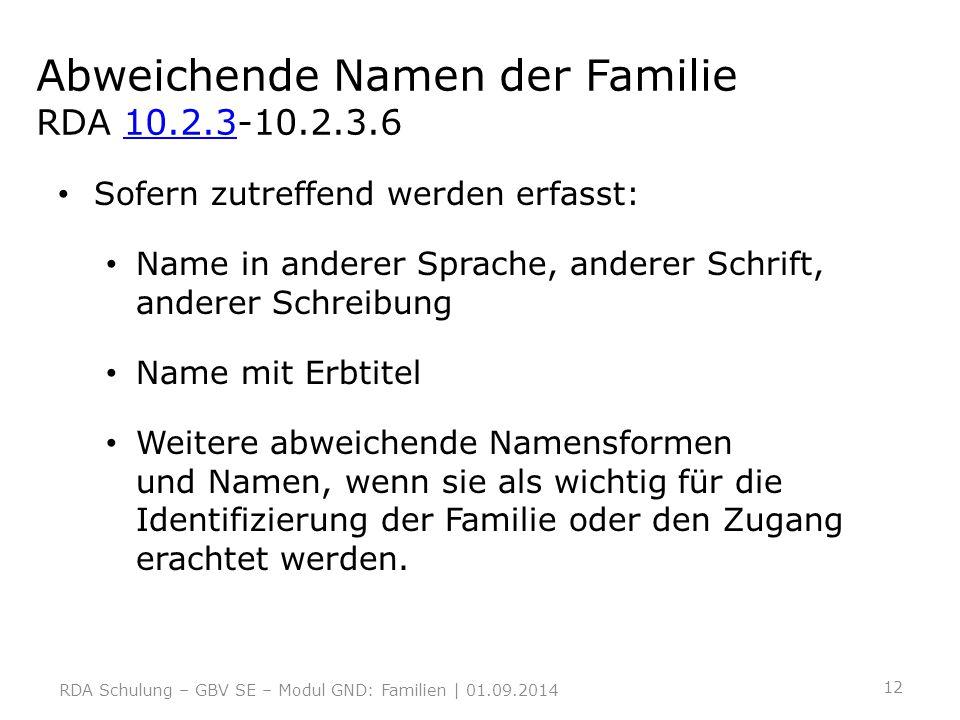 Abweichende Namen der Familie RDA 10.2.3-10.2.3.6