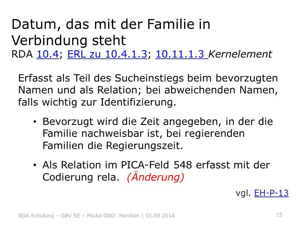 Datum, das mit der Familie in Verbindung steht RDA 10. 4; ERL zu 10. 4