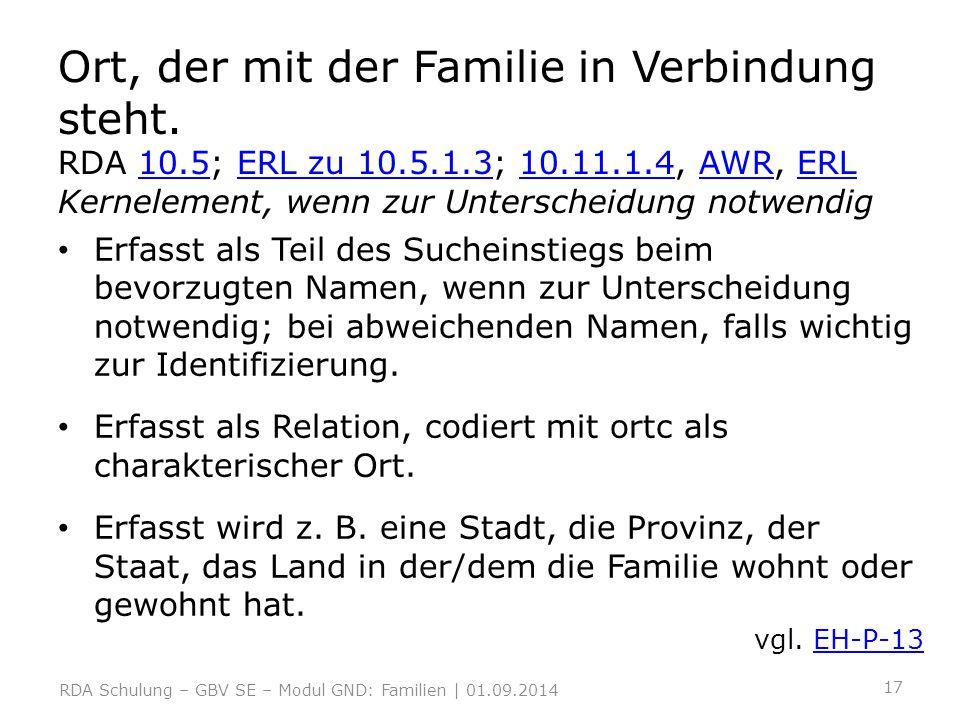 Ort, der mit der Familie in Verbindung steht. RDA 10. 5; ERL zu 10. 5