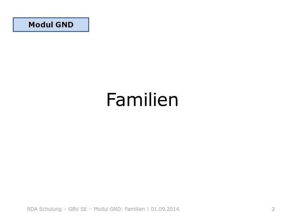 Modul GND Familien RDA Schulung – GBV SE – Modul GND: Familien | 01.09.2014