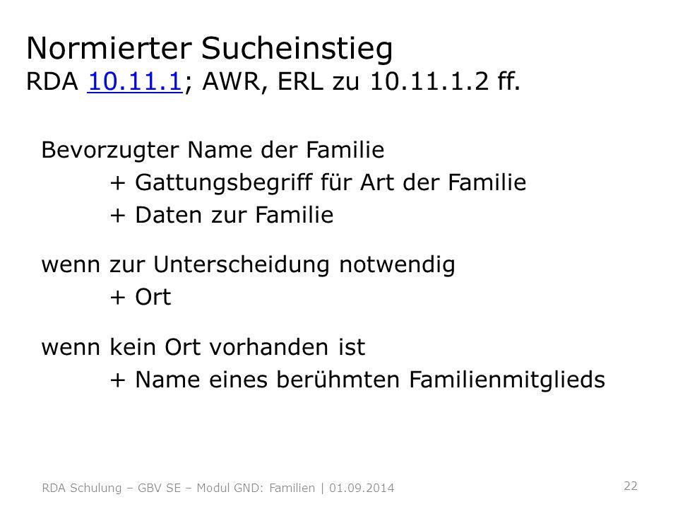 Normierter Sucheinstieg RDA 10.11.1; AWR, ERL zu 10.11.1.2 ff.