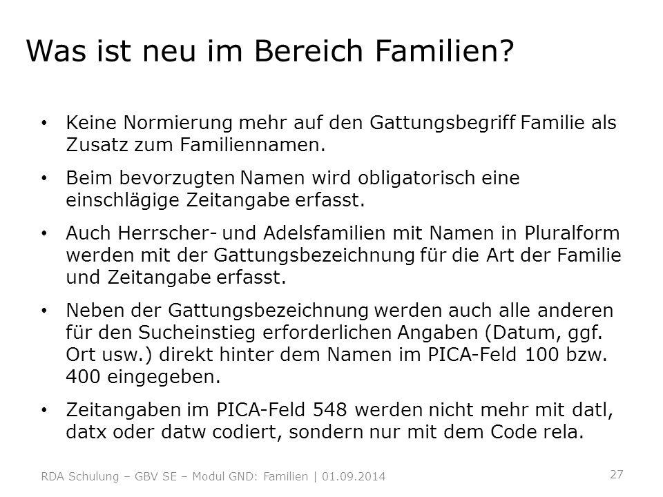 Was ist neu im Bereich Familien
