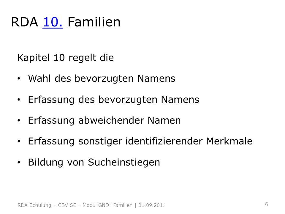 RDA 10. Familien Kapitel 10 regelt die Wahl des bevorzugten Namens