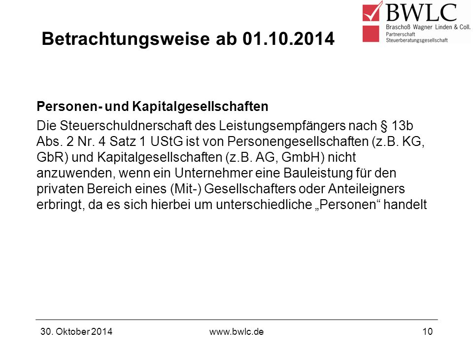 Betrachtungsweise ab 01.10.2014