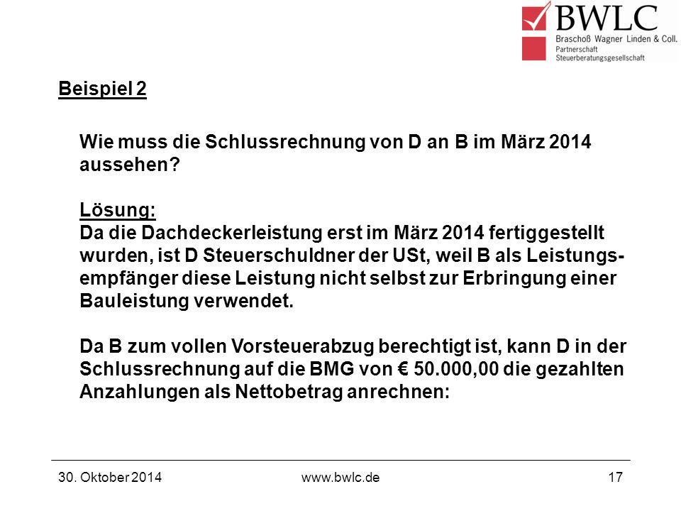 Wie muss die Schlussrechnung von D an B im März 2014 aussehen