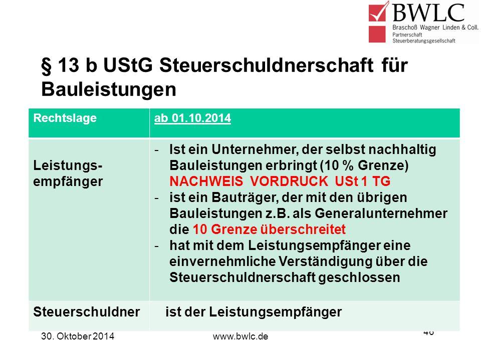 § 13 b UStG Steuerschuldnerschaft für Bauleistungen