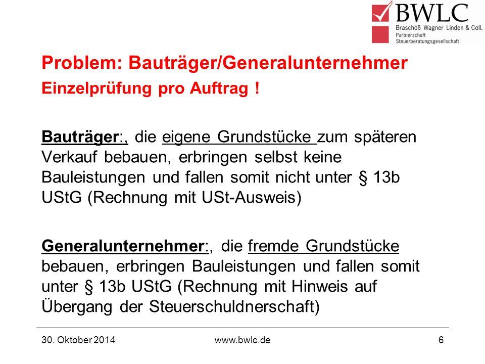 Problem: Bauträger/Generalunternehmer