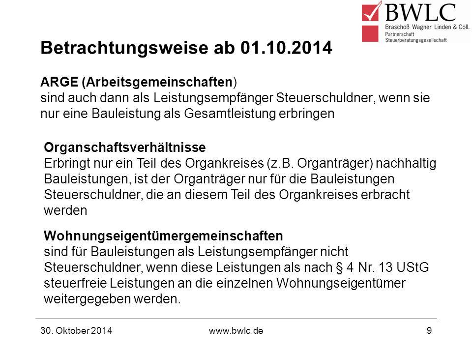 Betrachtungsweise ab 01.10.2014 ARGE (Arbeitsgemeinschaften) sind auch dann als Leistungsempfänger Steuerschuldner, wenn sie nur eine Bauleistung als Gesamtleistung erbringen