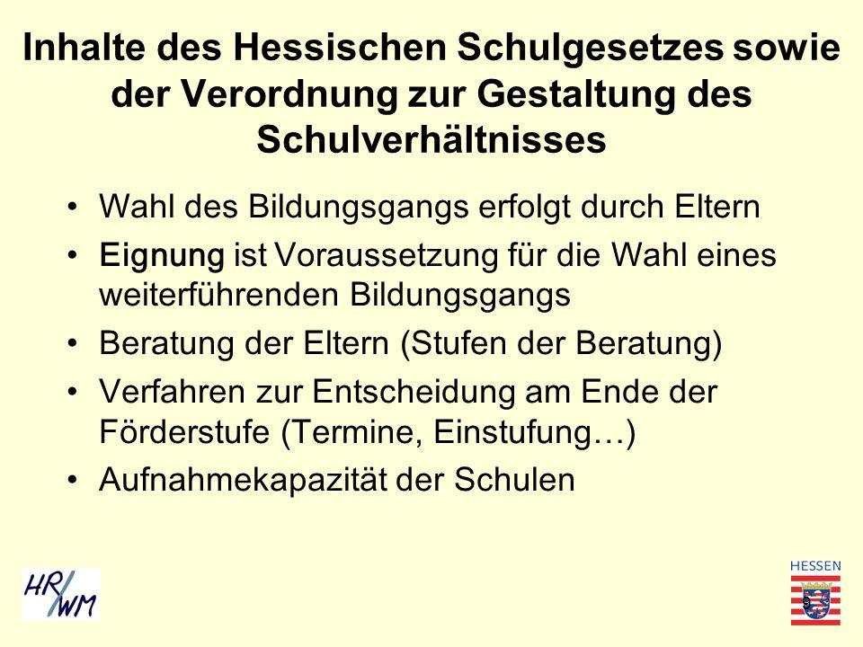 Inhalte des Hessischen Schulgesetzes sowie der Verordnung zur Gestaltung des Schulverhältnisses